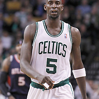 10 May 2012: Boston Celtics power forward Kevin Garnett (5) reacts during the Boston Celtics 83-80 victory over the Atlanta Hawks, in Game 6 of the Eastern Conference first-round playoff series, at the TD Banknorth Garden, Boston, Massachusetts, USA.