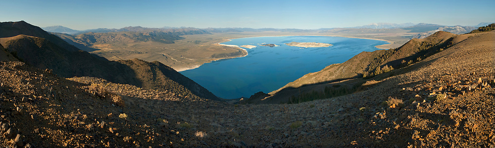 Panorama overlooking Mono Lake as seen from high above Lee Vining, Mono County, California