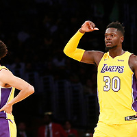 02 October 2017: Los Angeles Lakers forward Julius Randle (30) is seen next to Los Angeles Lakers guard Lonzo Ball (2) during the Denver Nuggets 113-107 victory over the LA Lakers, at the Staples Center, Los Angeles, California, USA.