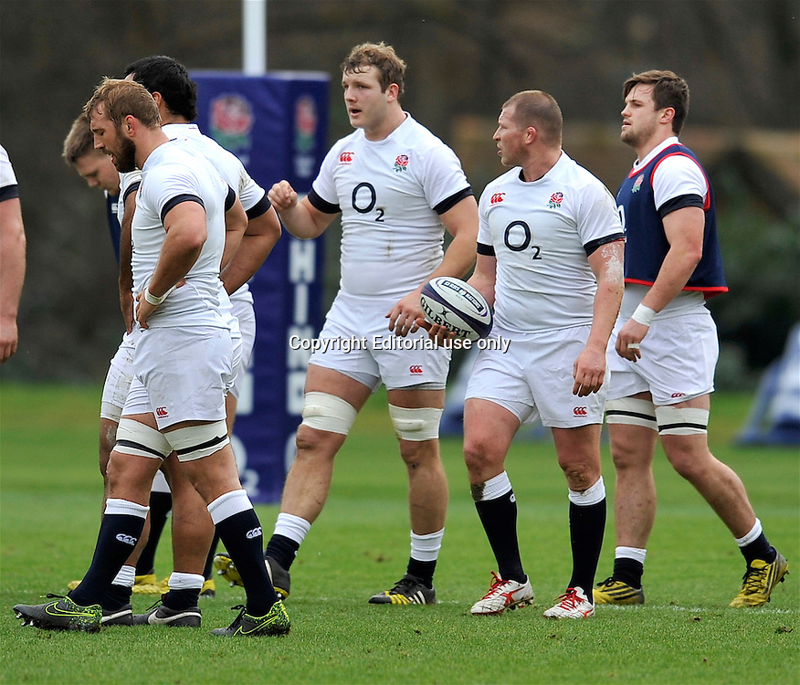 Bagshot, England. Dylan Hartley (Captain) of England with the team  during the England training session held at Pennyhill Park on February 4, 2016 in Bagshot, England. Photo Michael Paler / Photosport.nz