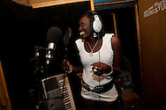 Singer Mary Boyoi in the Keyz recording studio in Juba South Sudan where she is recording a new album funded by USAID on December 19, 2010. The new album due to be relased in ten days is focused on referendum issues.