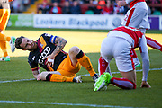 Bradford City midfielder Romain Vincelot (6) and Fleetwood Town Forward David Ball (10) collide in the 6 yard box  during the EFL Sky Bet League 1 Play Off second leg match between Fleetwood Town and Bradford City at the Highbury Stadium, Fleetwood, England on 7 May 2017. Photo by Simon Davies.