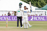 100 - Hassan Azad celebrates scoring 100 during the Specsavers County Champ Div 2 match between Gloucestershire County Cricket Club and Leicestershire County Cricket Club at the Cheltenham College Ground, Cheltenham, United Kingdom on 18 July 2019.