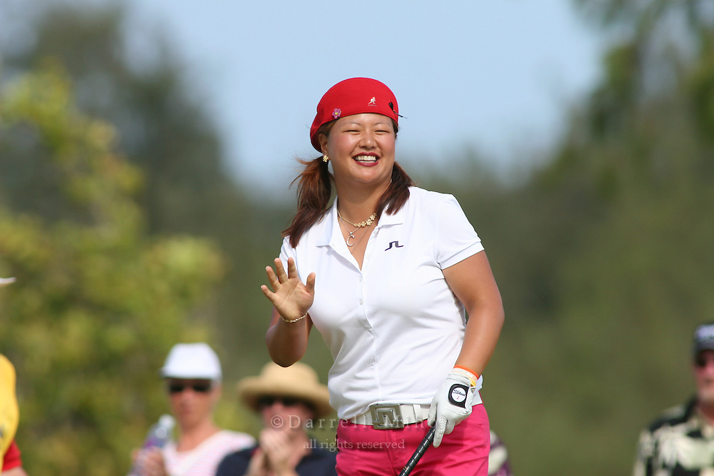 February 18, 2006; Kahuku, HI - Christina Kim acknowledges the crowd during the final round of the LPGA SBS Open at Turtle Bay Resort...Mandatory photo credit: Darrell Miho.© Darrell Miho