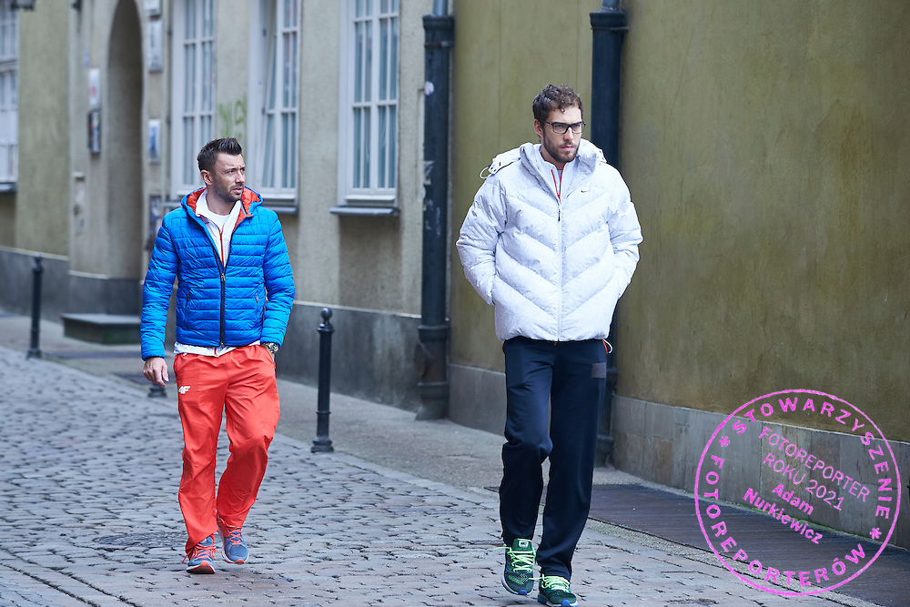 GDANSK, POLAND - 2016 MARCH 03: (L) Michal Przysiezny and (R) Jerzy Janowicz both from Poland arrive to City Hall one day before the Davies Cup / World Group 1st round tennis match between Poland and Argentina at Ergo Arena on March 3, 2016 in Gdansk, Poland<br /> <br /> Picture also available in RAW (NEF) or TIFF format on special request.<br /> <br /> Any editorial, commercial or promotional use requires written permission.<br /> <br /> Mandatory credit:<br /> Photo by &copy; Adam Nurkiewicz / Mediasport