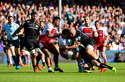 Matt Kvesic of Exeter Chiefs tackles Rory Hutchinson of Northampton Saints - Mandatory by-line: Ryan Hiscott/JMP - 25/05/2019 - RUGBY - Sandy Park - Exeter, England - Exeter Chiefs v Northampton Saints - Gallagher Premiership Rugby Semi-Final