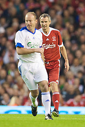 LIVERPOOL, ENGLAND - Thursday, May 14, 2009: Liverpool Legends' Alan Hansen and All Star's Alan Shearer during the Hillsborough Memorial Charity Game at Anfield. (Photo by David Rawcliffe/Propaganda)