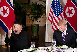 February 27, 2019 - Hanoi, Vietnam - U.S President DONALD TRUMP and North Korean leader and KIM JUNG-UN sit together during a social dinner at the Sofitel Legend Metropole hotel in Hanoi, Vietnam (Credit Image: © White House/ZUMA Wire/ZUMAPRESS.com)