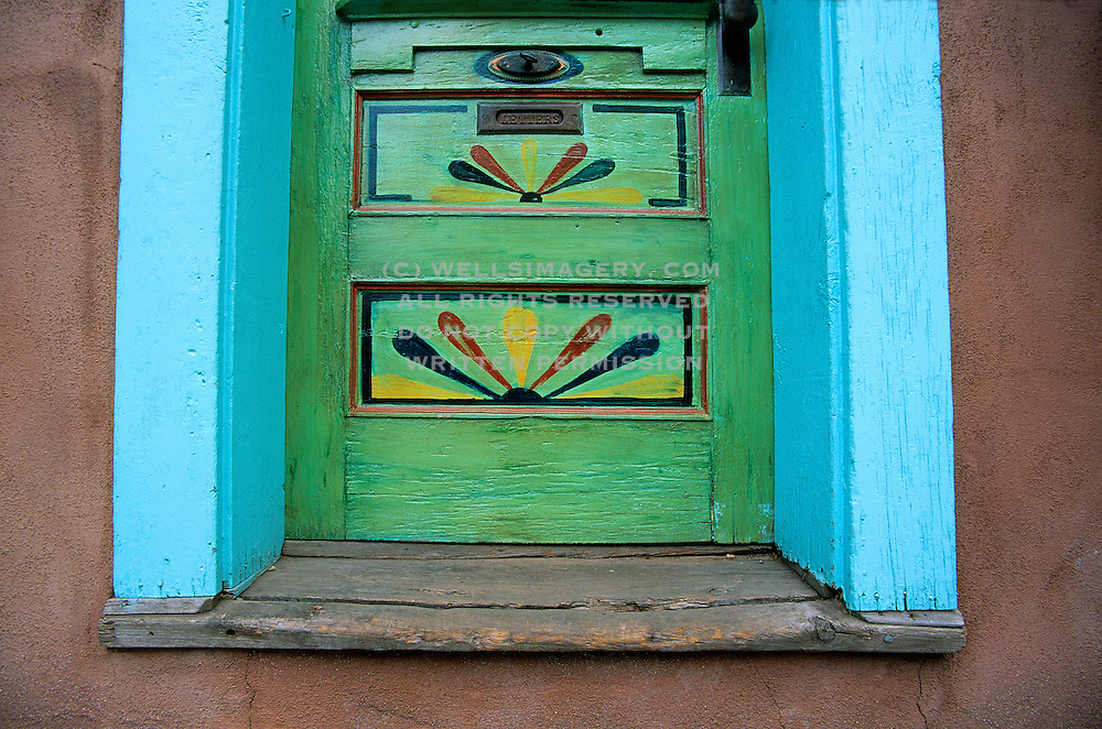 Image of colorful door along Canyon Road in Santa Fe, New Mexico, American Southwest, property released