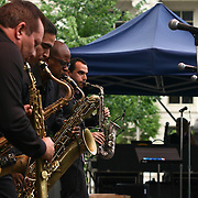 Habana Sax featuring band members Jorge Luis Almeida, Mauricio Gutierrez, Evaristo Denis and Eduardo Fernandez performs in front of a large crowd on the last day of the 26th annual duPont Clifford Brown Jazz Festival Saturday, June 21, 2014, at Rodney Square Park in Wilmington, DEL.    <br /> <br /> &ldquo;The Clifford Brown Jazz Festival is a staple of Wilmington&rsquo;s performing arts culture,&rdquo; said Mayor Dennis P. Williams. &ldquo;The City is excited to celebrate the 26th anniversary and I hope the community gets involved and enjoys all of the many activities the festival has to offer.&rdquo;<br /> <br /> The Clifford Brown Jazz festival is the largest FREE out door music event on the east coast of the United States.
