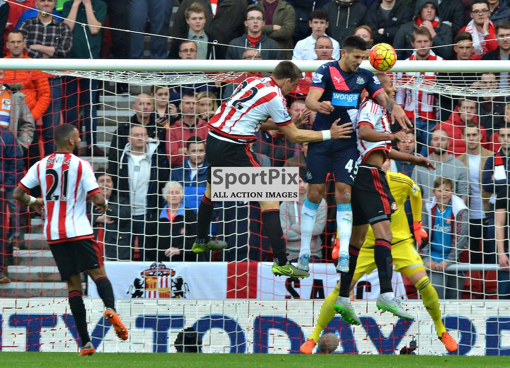 Newcastle's Aleksandar Mitrovic win's a rare aerial battle against Sunderland......(c) BILLY WHITE | SportPix.org.uk
