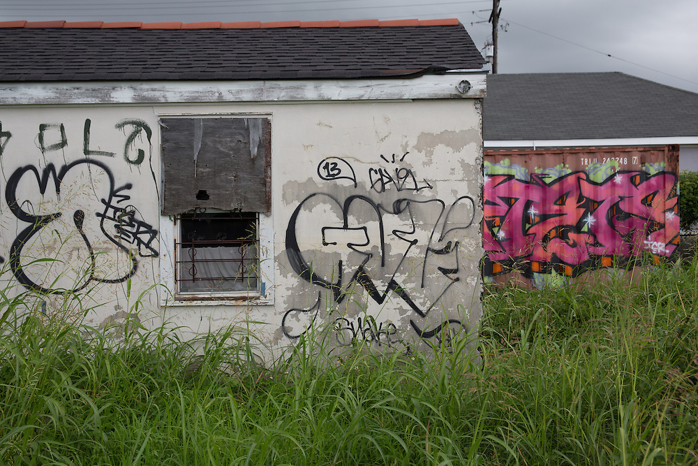 June 14, New Orleans, LA,  Graffiti covered blighted building on Florida Av. almost ten years after Hurricane Katrina.