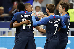 (L-R) Kylian Mbappe of France, Blaise Matuidi of France, Antoine Griezmann of France, Benjamin Pavard of France during the UEFA Nations League A group 1 qualifying match between France and The Netherlands on September 09, 2018 at Stade de France in Saint Denis,  France