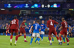NAPLES, ITALY - Tuesday, September 17, 2019: Liverpool's Roberto Firmino sees his header go wide the UEFA Champions League Group E match between SSC Napoli and Liverpool FC at the Studio San Paolo. (Pic by David Rawcliffe/Propaganda)