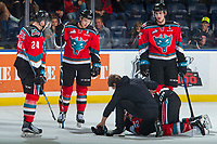 KELOWNA, CANADA - OCTOBER 27: Kelowna Rockets' Athletic Therapist Scott Hoyer attends to Erik Gardiner #12 on the ice as Kyle Topping #24, Gordie Ballhorn #4 and Cal Foote #25 of the Kelowna Rockets stand by for assistance against the Tri-City Americans on October 27, 2017 at Prospera Place in Kelowna, British Columbia, Canada.  (Photo by Marissa Baecker/Shoot the Breeze)  *** Local Caption ***
