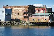 Historic Port Townsend waterfront brick buildings, Washington, USA. Stitched from 2 overlapping images.