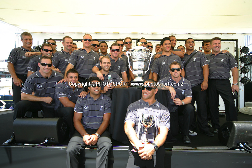 the kiwi squad during a mayoral reception for the World Cup winning Kiwi's and Kiwi ferns at the Viaduct, Auckland, New Zealand, Monday 02 February 2009.Photo: John Cowpland/PHOTOSPORT