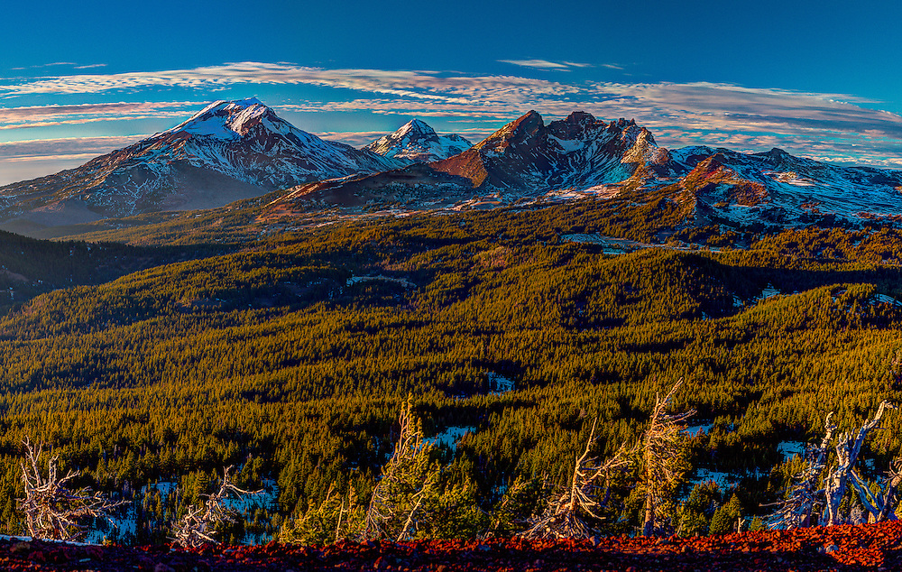 South Sister, North Sister and Broken Top from Tumalo Mt. at Sunset