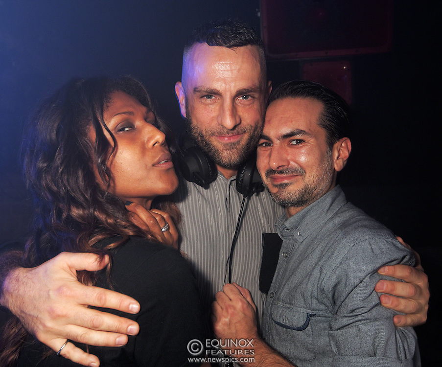 London, United Kingdom - 2 November 2013<br /> DJs Smokin' Jo (L) and Tom Stephan (C) at the 23rd birthday party for Trade gay club night at Egg nightclub, York Way, King's Cross, London, England, UK.<br /> Contact: Equinox News Pictures Ltd. +448700780000 - Copyright: &copy;2013 Equinox Licensing Ltd. - www.newspics.com<br /> Date Taken: 20131102 - Time Taken: 202455+0000