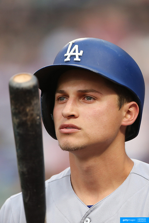 NEW YORK, NEW YORK - May 27:  Corey Seager #5 of the Los Angeles Dodgers preparing to bat during the Los Angeles Dodgers Vs New York Mets regular season MLB game at Citi Field on May 27, 2016 in New York City. (Photo by Tim Clayton/Corbis via Getty Images)