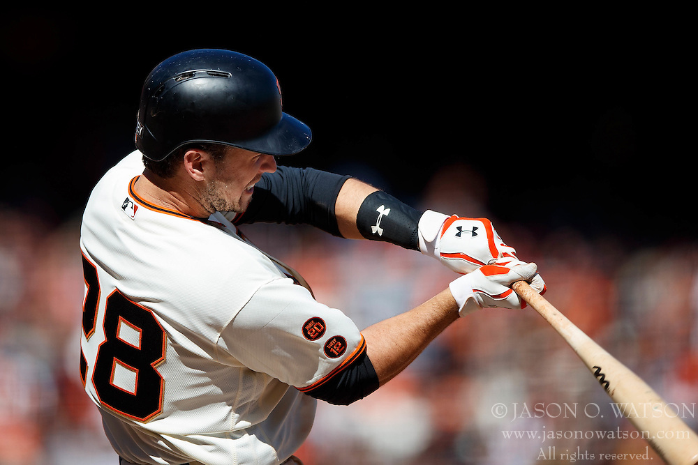 SAN FRANCISCO, CA - OCTOBER 02: Buster Posey #28 of the San Francisco Giants at bat against the Los Angeles Dodgers during the sixth inning at AT&T Park on October 2, 2016 in San Francisco, California. The San Francisco Giants defeated the Los Angeles Dodgers 7-1. (Photo by Jason O. Watson/Getty Images) *** Local Caption *** Buster Posey