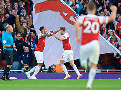 London, ENGLAND - Sunday, September 23, 2018: Arsenal's Pierre-Emerick Aubameyang celebrates scoring the second goal with team-mate Arsenal's Aaron Ramseyduring the FA Premier League match between Arsenal FC and Everton FC at the Emirates Stadium. (Pic by David Rawcliffe/Propaganda)