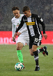 MOENCHENGLADBACH, March 3, 2018  Robert Bauer (L) of Bremen vies with Thorgan Hazard of Moenchengladbach during the Bundesliga match between Borussia Moenchengladbach and SV Werder Bremen at Borussia-Park in Moenchengladbach, Germany, on March 2, 2018.  The match ended with a 2-2 draw. (Credit Image: © Ulrich Hufnagel/Xinhua via ZUMA Wire)