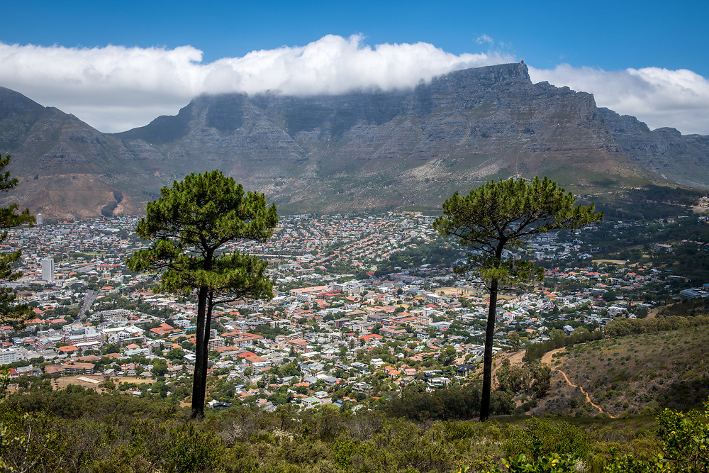 Elevated view of Table Mountain and the city of Cape Town, South Africa