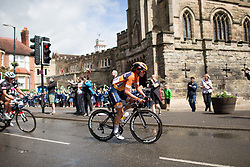 Chantal Blaak (NED) of Boels-Dolmans Cycling Team rides past the Castle Hill Baptist Church in Warwick during Stage 3 of the OVO Energy Women's Tour - a 151 km road race, between Atherstone and Royal Leamington Spa on June 9, 2017, in Warwickshire, United Kingdom. (Photo by Balint Hamvas/Velofocus.com)