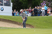 Luke Donald of England chips onto the 18th green during the BMW PGA Championship at Wentworth Club, Virginia Water, United Kingdom on 29 May 2016. Photo by Phil Duncan.