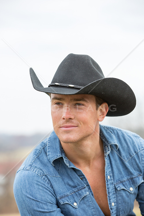 Portrait of a sexy All American cowboy
