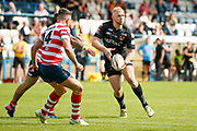 Bradford Bulls loose forward Damian Sironen (10) passes the ball out during the Kingstone Press Championship match between Oldham RLFC and Bradford Bulls at Bower Fold, Oldham, United Kingdom on 13 August 2017. Photo by Simon Davies.