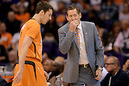Nov 7, 2014; Phoenix, AZ, USA; Phoenix Suns head coach Jeff Hornacek talks with guard Goran Dragic (1) in the game against the Sacramento Kings at US Airways Center. The Kings won 114-112 in double overtime. Mandatory Credit: Jennifer Stewart-USA TODAY Sports