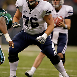 Sep 12, 2009; New Orleans, LA, USA; BYU Cougars offensive lineman Braden Hansen (76) against the Tulane Green Wave at the Louisiana Superdome.  BYU defeated Tulane 54-3. Mandatory Credit: Derick E. Hingle-US PRESSWIRE