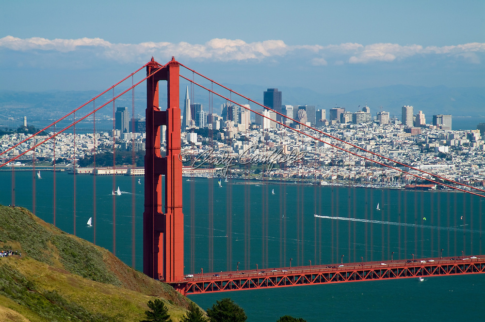 Golden Gate Bridge and city skyline-San Francisco, CA