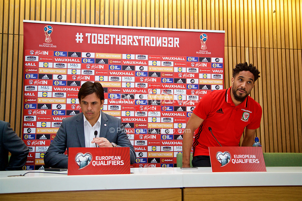 DUBLIN, REPUBLIC OF IRELAND - Thursday, March 23, 2017: Wales' manager Chris Coleman and captain Ashley Williams during a press conference at the Aviva Stadium ahead of the 2018 FIFA World Cup Qualifying Group D match against Republic of Ireland. (Pic by David Rawcliffe/Propaganda)