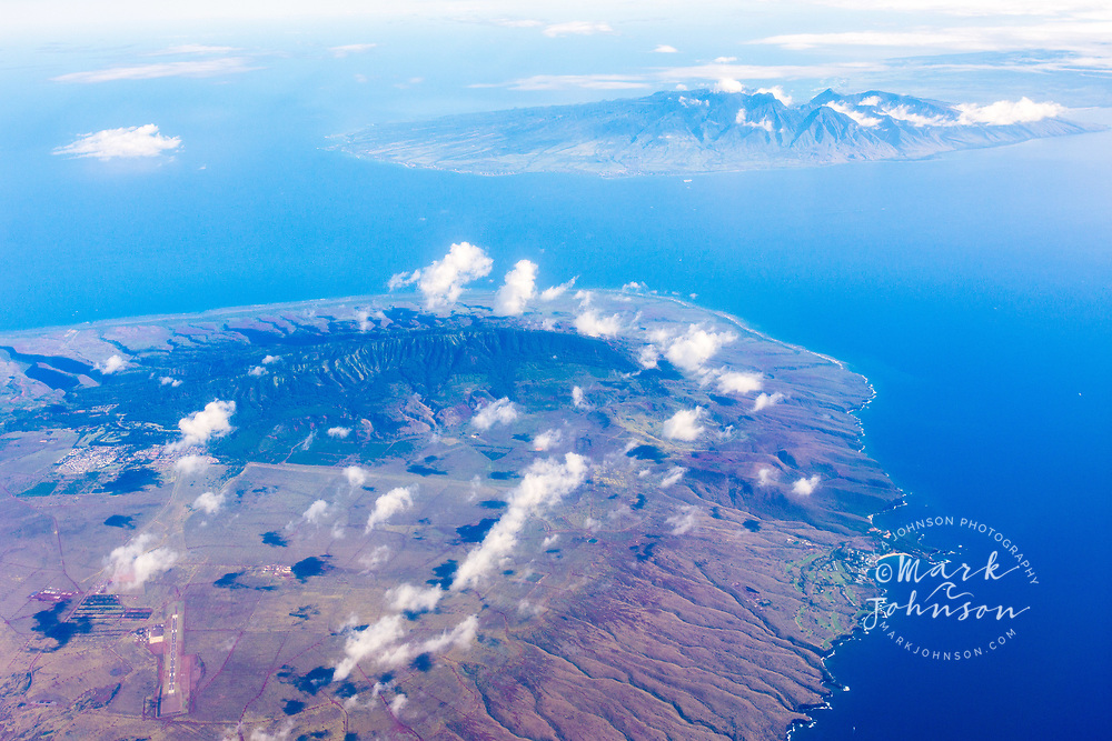 Aerial photograph of Lanai island & Maui in distance, Hawaii, USA