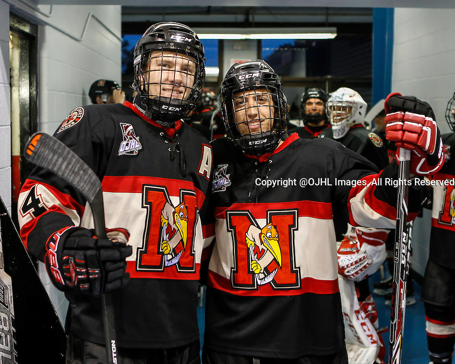 NEWMARKET, ON - Oct 8, 2015 : Ontario Junior Hockey League game action between Orangeville and Newmarket, Adam Smith #4 and Christian Cella #15 before the start of the game.<br /> (Photo by Brian Watts / OJHL Images)