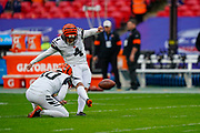Cincinnati Bengals Kicker Randy Bullock (4) warms up during the International Series match between Los Angeles Rams and Cincinnati Bengals at Wembley Stadium, London, England on 27 October 2019.
