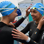 Katherine Gray,Katrina Gray is a twin sister participle Swim Serpentine 2018, London, UK. 22 September 2018.