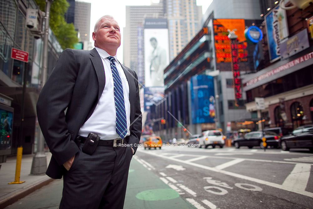 Vaughn Alliton of Morgan Stanley in Times Square, New York. ..Photo by Robert Caplin