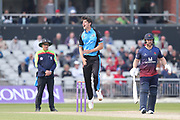 Worcestershire's Josh Tongue claims the wicket of Lancashires James Anderson  during the Royal London 1 Day Cup match between Lancashire County Cricket Club and Worcestershire County Cricket Club at the Emirates, Old Trafford, Manchester, United Kingdom on 17 April 2019.