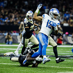 Oct 15, 2017; New Orleans, LA, USA; Detroit Lions wide receiver Golden Tate (15) is tackled by New Orleans Saints cornerback Ken Crawley (20) during the first half of a game at the Mercedes-Benz Superdome. Mandatory Credit: Derick E. Hingle-USA TODAY Sports