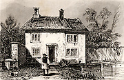Cottage at Wrington in north Somerset near Bristol, England, the birthplace of John Locke (1632-1704) English philosopher and scientist, one of the founders of the Enlightenment.  Engraving from 'England and Wales Delineated'  by Thomas Dugdale (London, c1840).