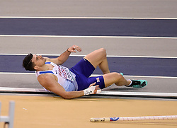 Great Britain's Guy Learmonth lies on the track after falling in the second semi final of the Men's 800m during day two of the European Indoor Athletics Championships at the Emirates Arena, Glasgow.