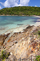 The clear, calm waters of Lameshur Bay on St John in the US Virgin Islands