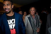 DAVID HAYE; MICKEY ROURKE, The 2009 GQ Men Of The Year Awards at The Royal Opera House. Covent Garden.  8 September 2009.