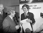 07/01/1983.01/07/1983.7th January 1983.The Aer Lingus Young Scientist Exhibition at the RDS, Dublin...Picture shows Garrett Fitzgerald, Taoiseach with Basil Geoghegan from Glenstal Abbey School, Co. Limerick who was runner up for his project 'A Qualitative and Quantitive Analysis of Compost and Manure.'.