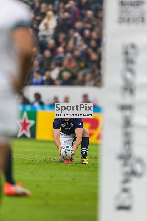 Greig Laidlaw lines up a kick during the Rugby World Cup match between Scotland and South Africa (c) ROSS EAGLESHAM | Sportpix.co.uk