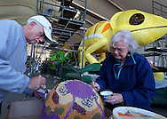 Float decorations for the 128th annual Tournament of Roses parade are underway in Pasadena, California on Dec. 28, 2016. Better known as the Rose Parade, the festival of flower-covered floats will take place on New Year's Day, Jan. 2, 2017.